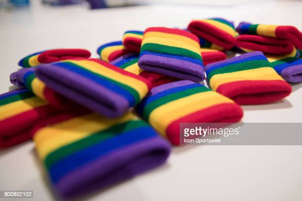 Rainbow colored wristbands to be worn by the Pride during the NWSL soccer match between the Houston Dash and Orlando Pride on June 24 2017 at Orlando...