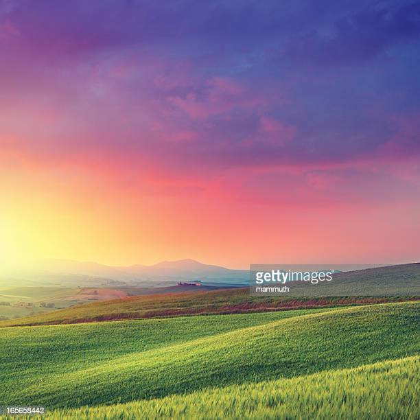 Rainbow dawn in Tuscany