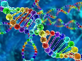 Illustration of rainbow DNA (deoxyribonucleic acid) with defocus on background