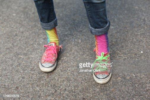 Rainbow feet : Stock Photo