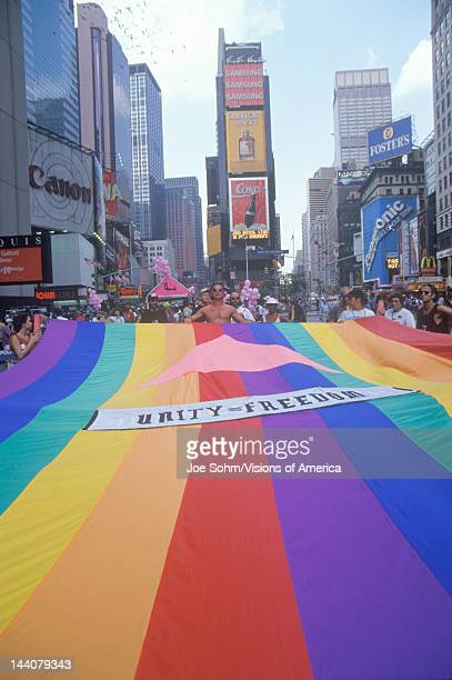Rainbow flag at AIDS rally in Times Square New York City New York