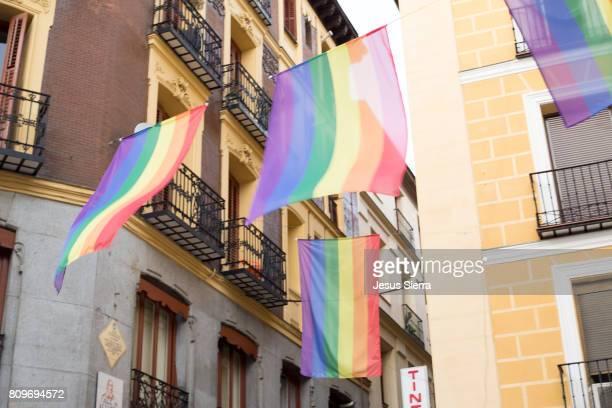 Rainbow flag during World Pride Madrid 2017