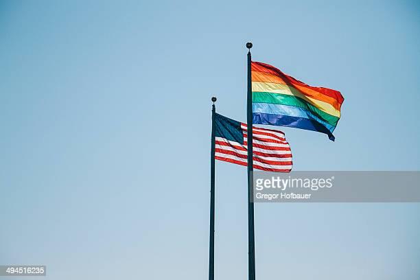 US & Rainbow Flags
