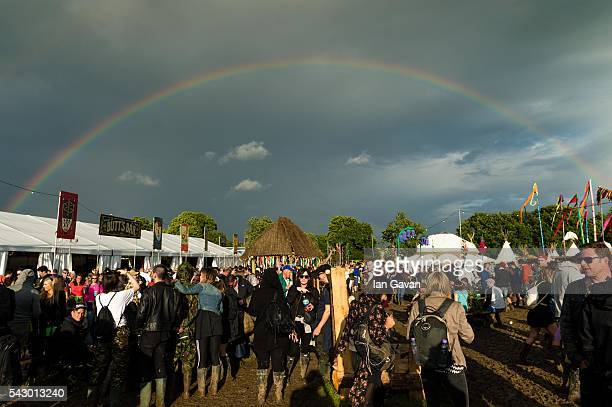 A rainbow forms on day 2 of the Glastonbury Festival at Worthy Farm Pilton on June 25 2016 in Glastonbury England Now its 46th year the festival is...