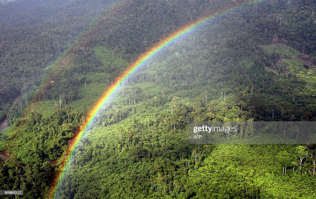 A Rainbow forms over the Ulu Baram rainforest in the Miri interior eastern Malaysian Borneo state of Sarawak 13 December 2007 Wealthy countries and a...