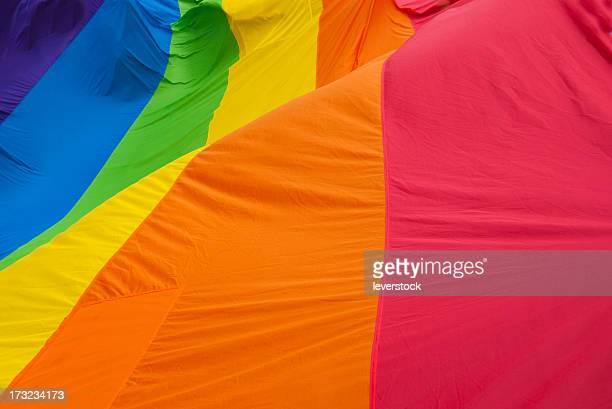 Rainbow Gay Pride Flag waves.