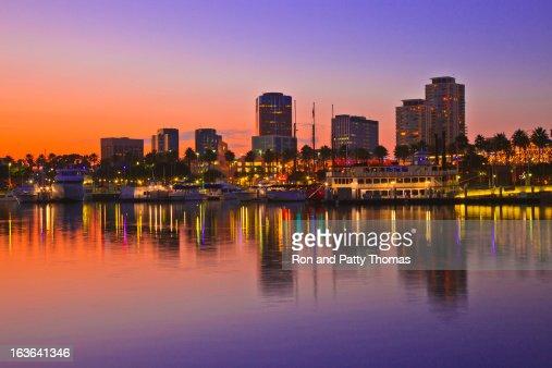 Rainbow Harbor, Long Beach, California illuminated at dusk