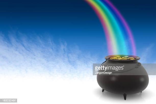 Rainbow into a black pot of gold
