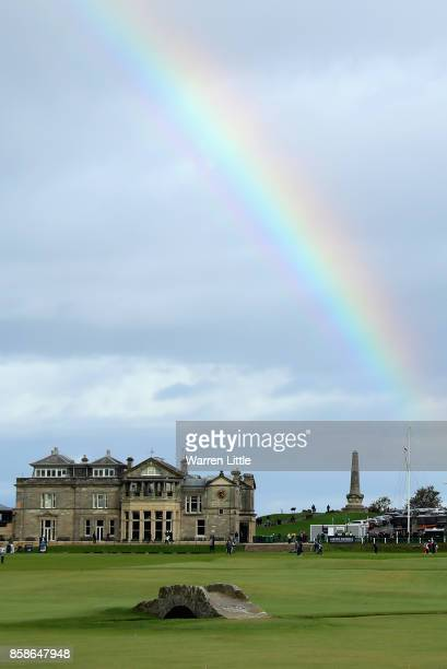 A rainbow is pictured over the 18th hole during day three of the 2017 Alfred Dunhill Championship at The Old Course on October 7 2017 in St Andrews...