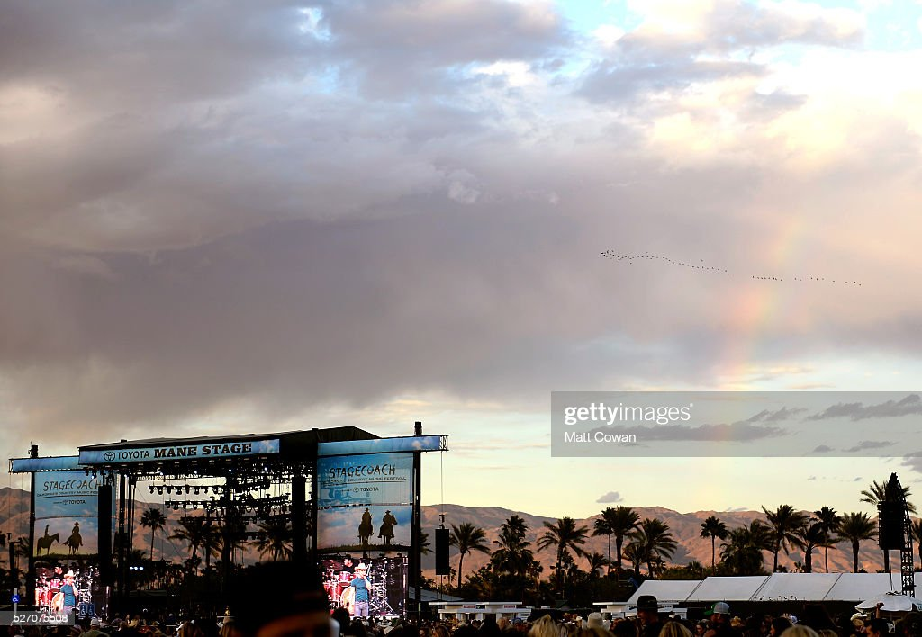 A rainbow is seen behind Mane stage during 2016 Stagecoach California's Country Music Festival at Empire Polo Club on May 01, 2016 in Indio, California.