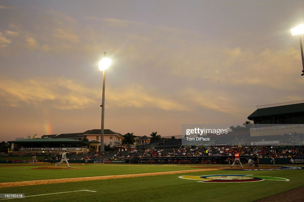 A rainbow is seen behind the stadium during game 6 of the Qualifying Round of the World Baseball Classic at Roger Dean Stadium between Team Israel and Team Spain on September 23, 2012 in Jupiter, Florida.