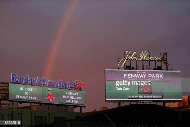 A rainbow is seen duing sunset during team workouts for the Boston Red Sox in the 2013 World Series Media Day at Fenway Park on October 22 2013 in...