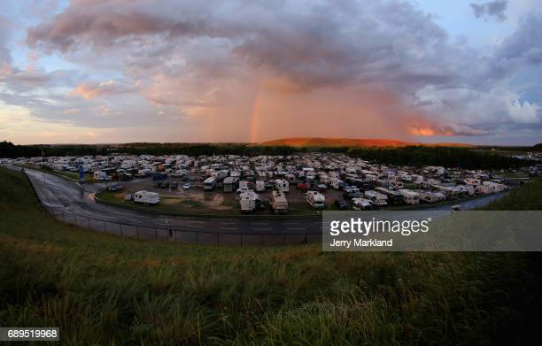 A rainbow is seen during a rain delay during the Monster Energy NASCAR Cup Series CocaCola 600 at Charlotte Motor Speedway on May 28 2017 in...
