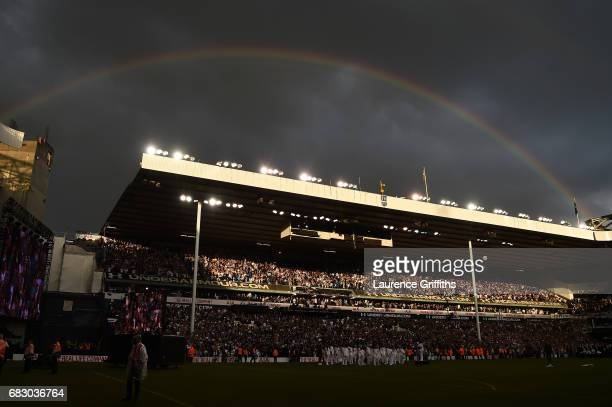 A rainbow is seen over the stadium during the closing ceremony after the Premier League match between Tottenham Hotspur and Manchester United at...