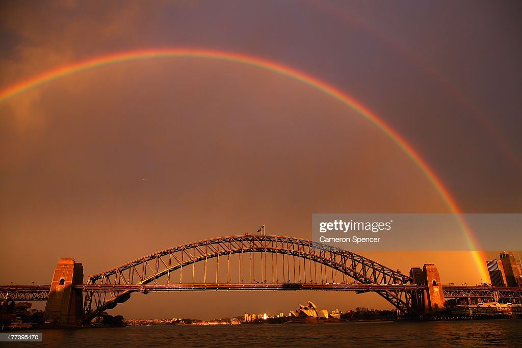 A rainbow is seen over the Sydney Harbour Bridge on June 17, 2015 in Sydney, Australia.
