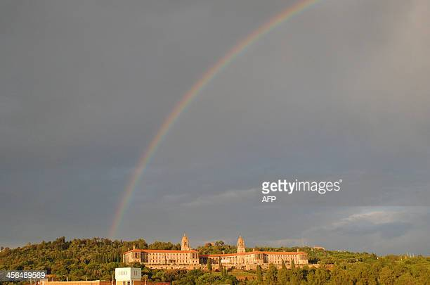 A rainbow is seen over the Union Buldings where former South African President Nelson Mandela's coffin lying in state on December 12 in Pretoria...