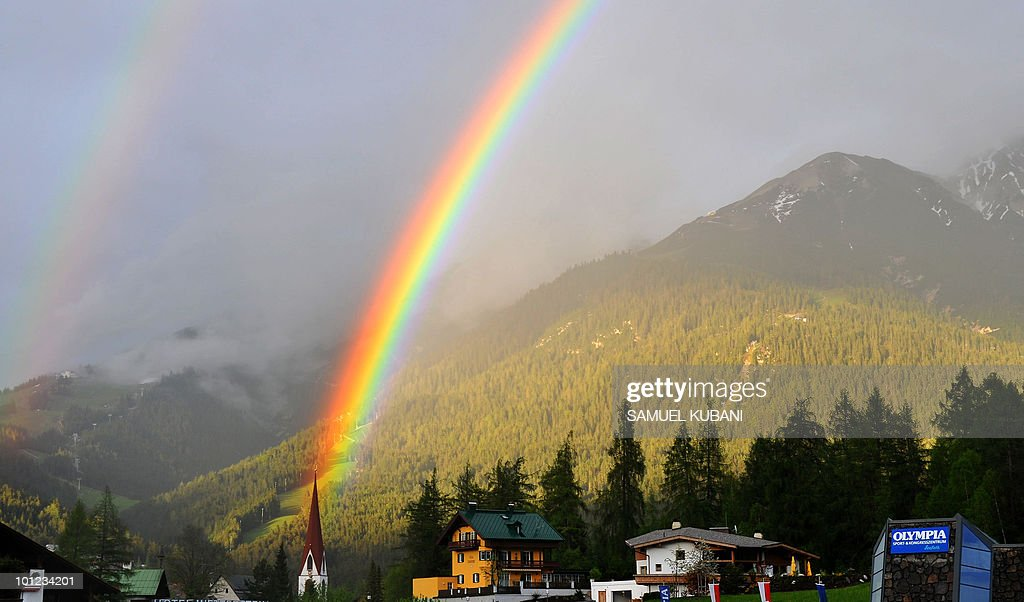 A rainbow is seen over Tyrolian village of Seefeld in Austria on May 27, 2010 where Netherland football team have training camp prior to the FIFA World Cup 2010 in South Africa starting on June 11.