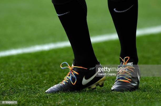 Rainbow laces are seen prior to the Premier League match between Manchester United and Brighton and Hove Albion at Old Trafford on November 25 2017...