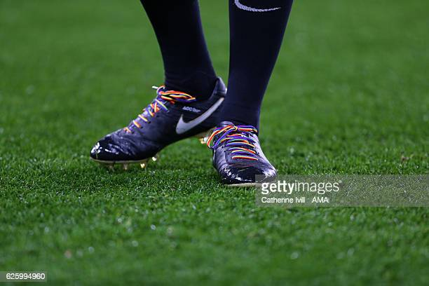 Rainbow laces on boots during the Premier League match between Chelsea and Tottenham Hotspur at Stamford Bridge on November 26 2016 in London England