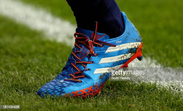 Rainbow laces worn by Sylvain Distin of Everton during the Barclays Premier League match between West Ham United and Everton at the Boleyn Ground on...