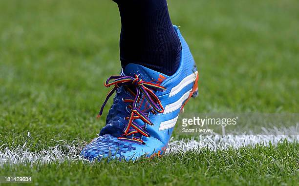 Rainbow laces worn by Sylvain Distin of Evertonduring the Barclays Premier League match between West Ham United and Everton at the Boleyn Ground on...