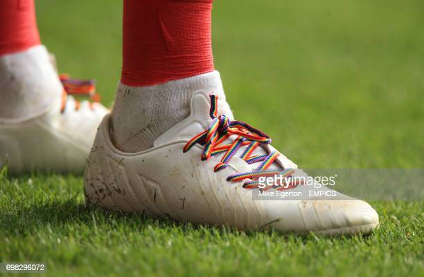 Rainbow laces worn in Jack Hunt's boots in support of antihomophobia campaign
