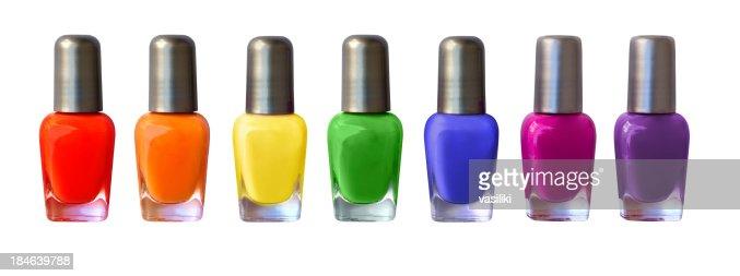 Rainbow nail polish row