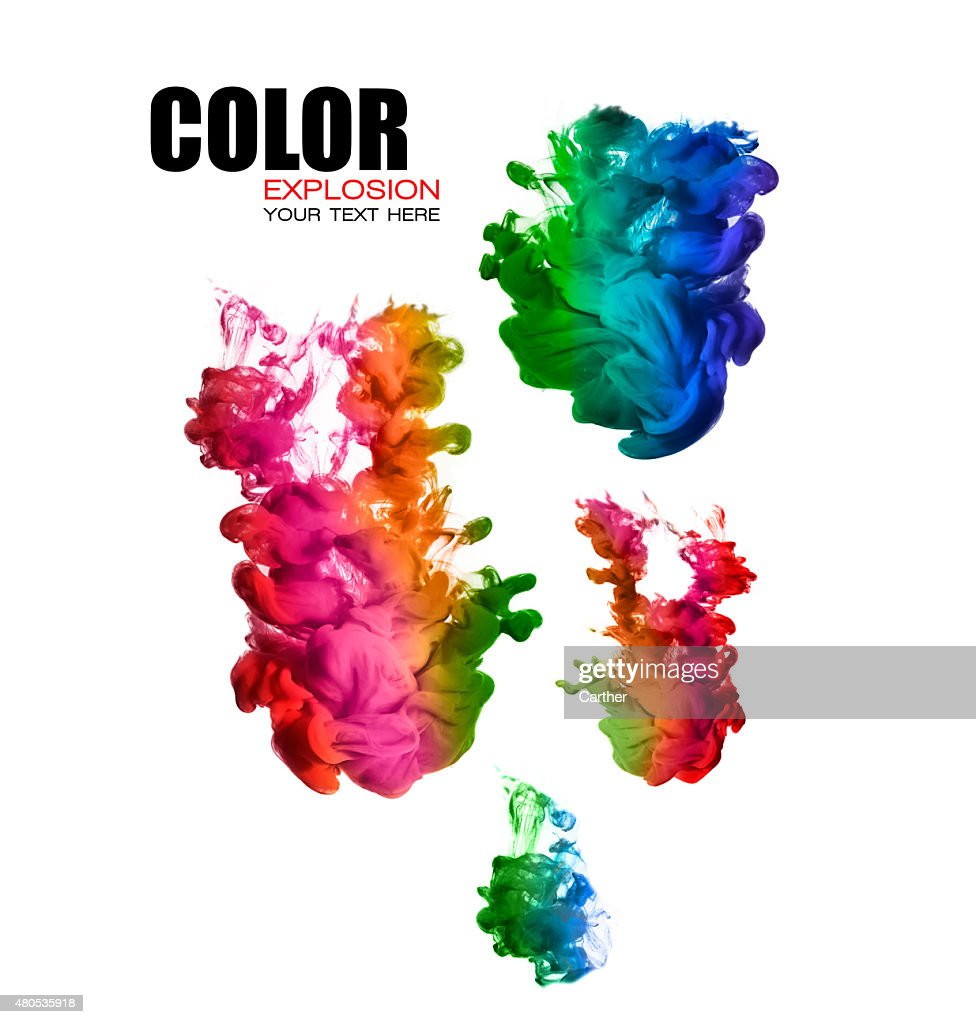 Rainbow of Acrylic Ink in Water. Color Explosion : Stock Photo
