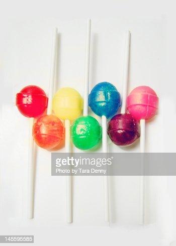 Rainbow of lollipops