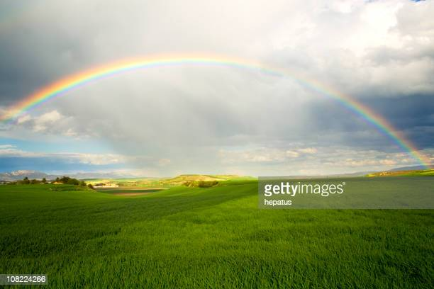 A rainbow over a green field with rain clouds