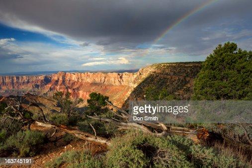 Rainbow Over Desert View : Stock Photo