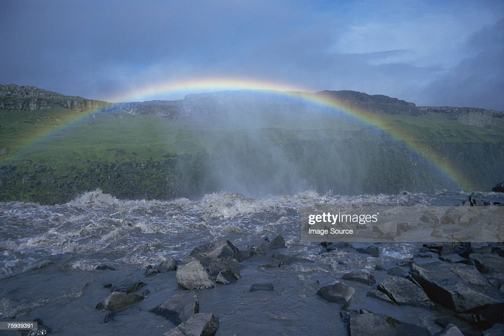 Rainbow over dettifoss iceland : Stock Photo