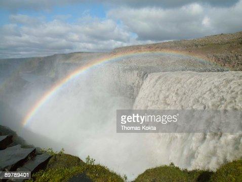 Rainbow over Dettifoss Waterfall, Iceland : Stock Photo