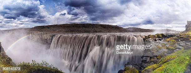 Rainbow over Dettifoss Waterfall in Iceland XXXL Panorama