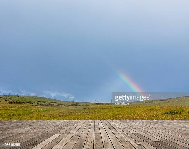 Rainbow over fall landscape