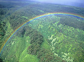 Rainbow over green hills, aerial view