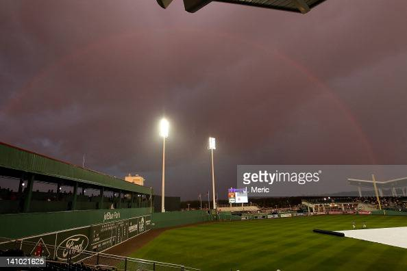 A rainbow over JetBlue Park just before the start of a Grapefruit League spring training game between the Boston Red Sox and the Pittsburgh Pirates...