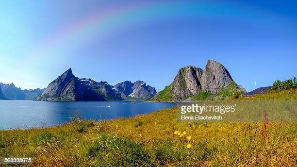 Rainbow over Lofoten mountains