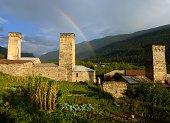 Rainbow over Mestia in Svaneti