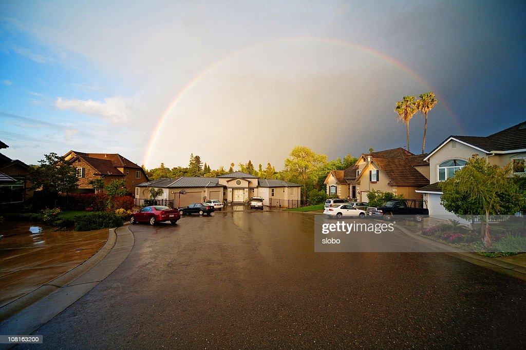 Rainbow Over My Neighborhood : Stock Photo