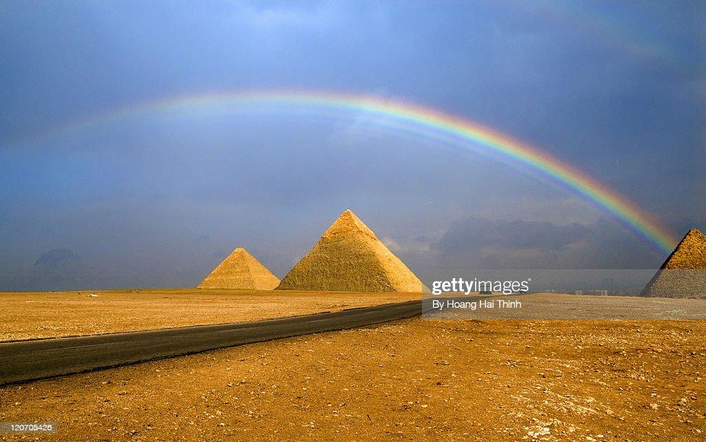 Rainbow over pyramid