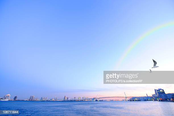 Rainbow over Rainbow Bridge, Minato ward, Tokyo Prefecture, Honshu, Japan