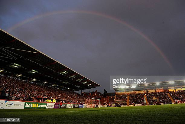 Rainbow over St James Park during the Carling Cup second Round match betweem Exeter City and Liverpool at St James Park on August 24 2011 in Exeter...
