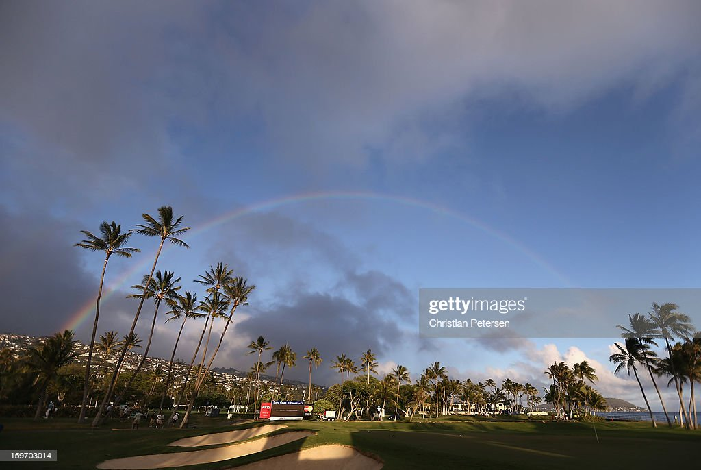 A rainbow over the 17th hole green during the second round of the Sony Open in Hawaii at Waialae Country Club on January 11, 2013 in Honolulu, Hawaii.