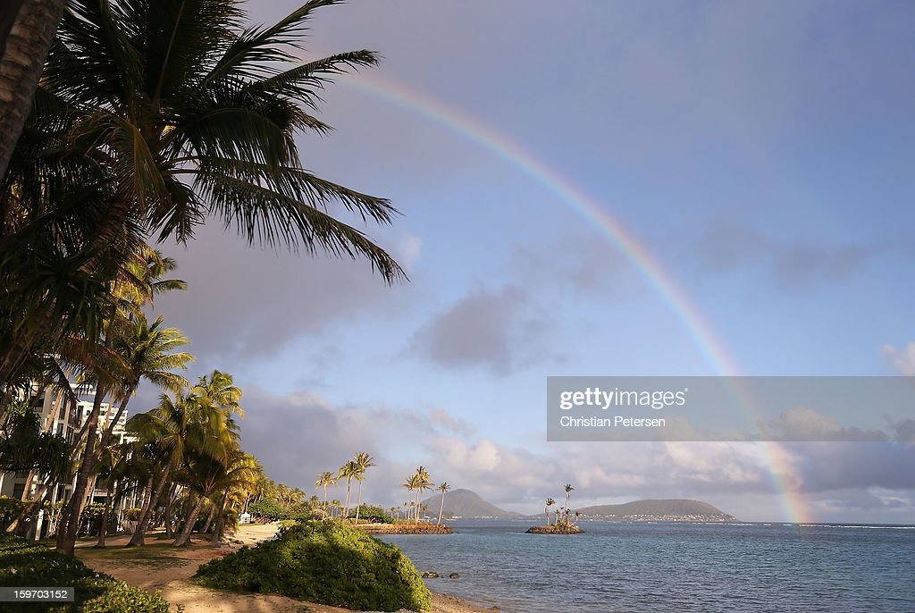 A rainbow over the ocean during the second round of the Sony Open in Hawaii at Waialae Country Club on January 11, 2013 in Honolulu, Hawaii.