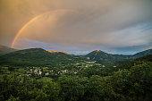 Rainbow over the valley of Castellane, Provence, Department Alpes-de-Haute-Provence, Provence-Alpes-Cote d'Azur, France