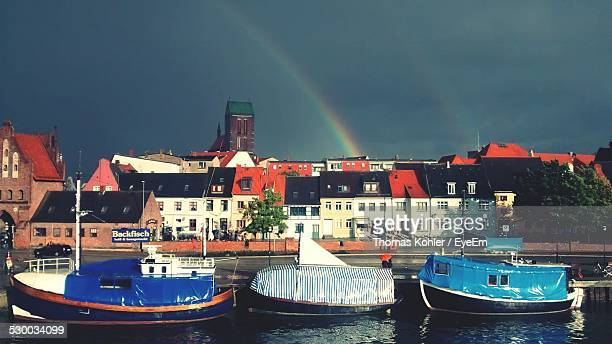 Rainbow Over Waterfront Town
