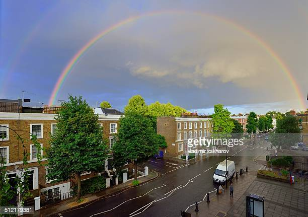 Rainbow over West London streets