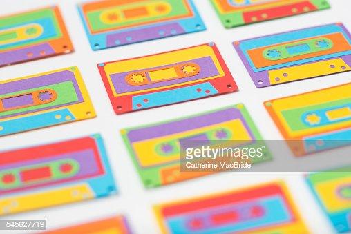 Rainbow paper-cut cassette tapes... : Stock Photo