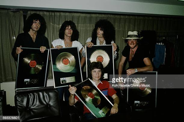 Rainbow presented gold disc for 'Difficult to Cure' Tokyo August 1981